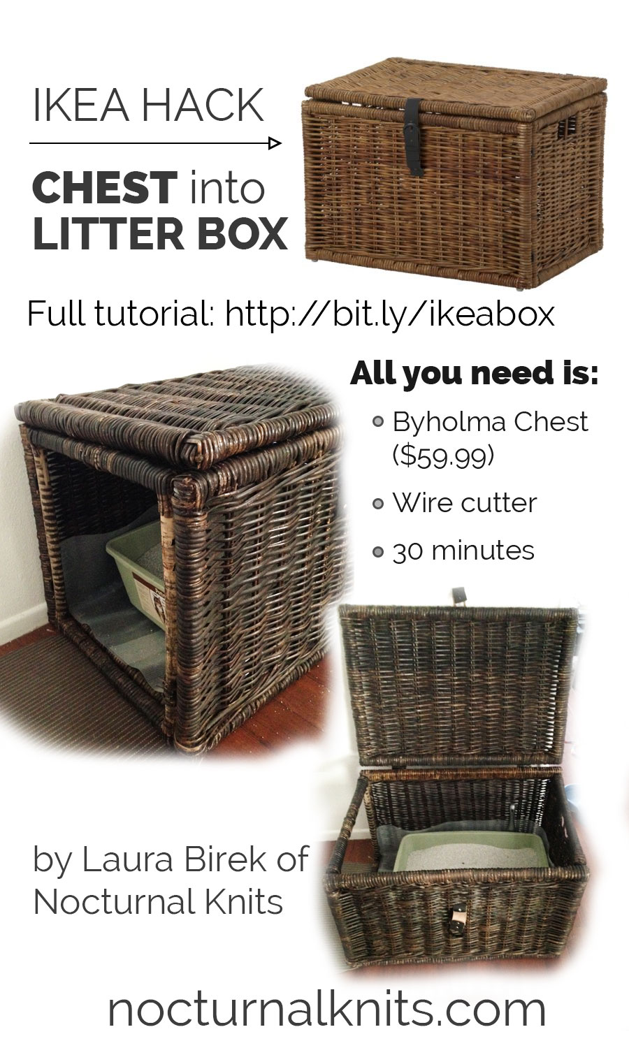 Ikea Hack Litter Box From Byholma Chest Nocturnal Knits